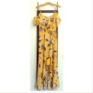 BLUSH floral print ruffle maxi dress
